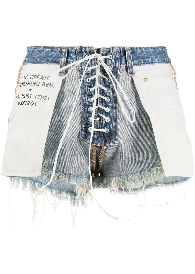 Ben Taverniti Unravel Project distressed reverse laceup shorts