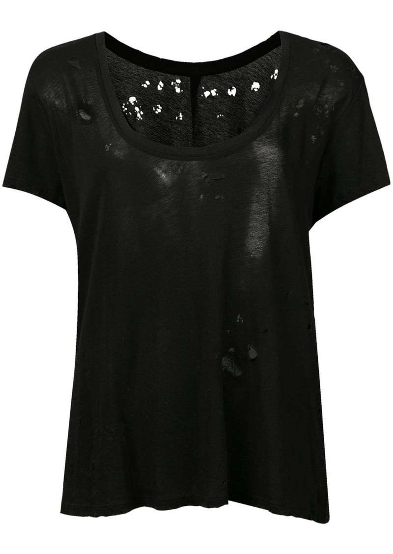 Ben Taverniti Unravel Project distressed sheer scoop neck T-shirt
