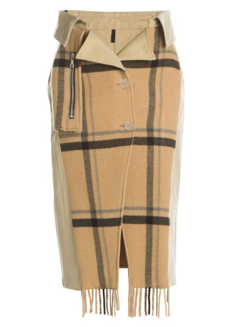 Ben Taverniti Unravel Project Double-Breasted Mackintosh Trench Skirt
