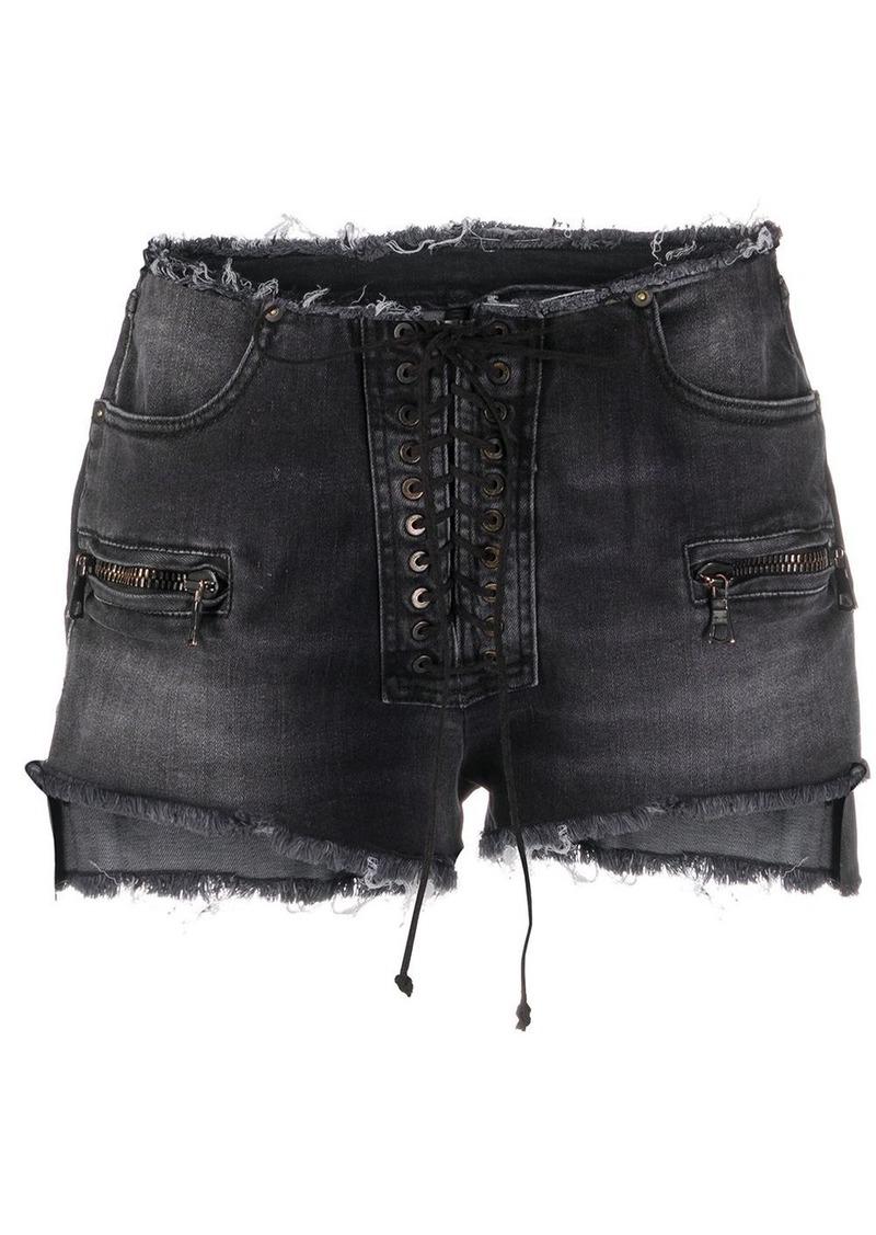 Ben Taverniti Unravel Project frayed lace-up denim shorts