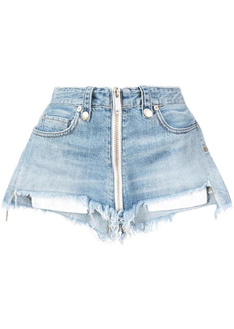 Ben Taverniti Unravel Project high waisted zipped denim shorts