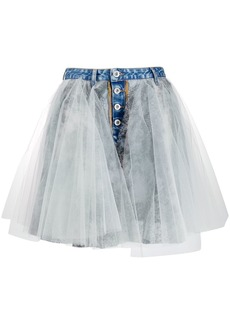Ben Taverniti Unravel Project tulle overlay denim skirt
