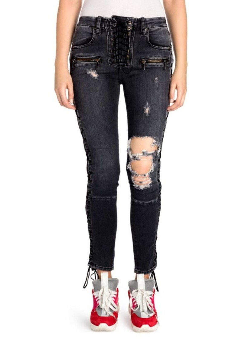Ben Taverniti Unravel Project Lace-Up Distressed Skinny Jeans