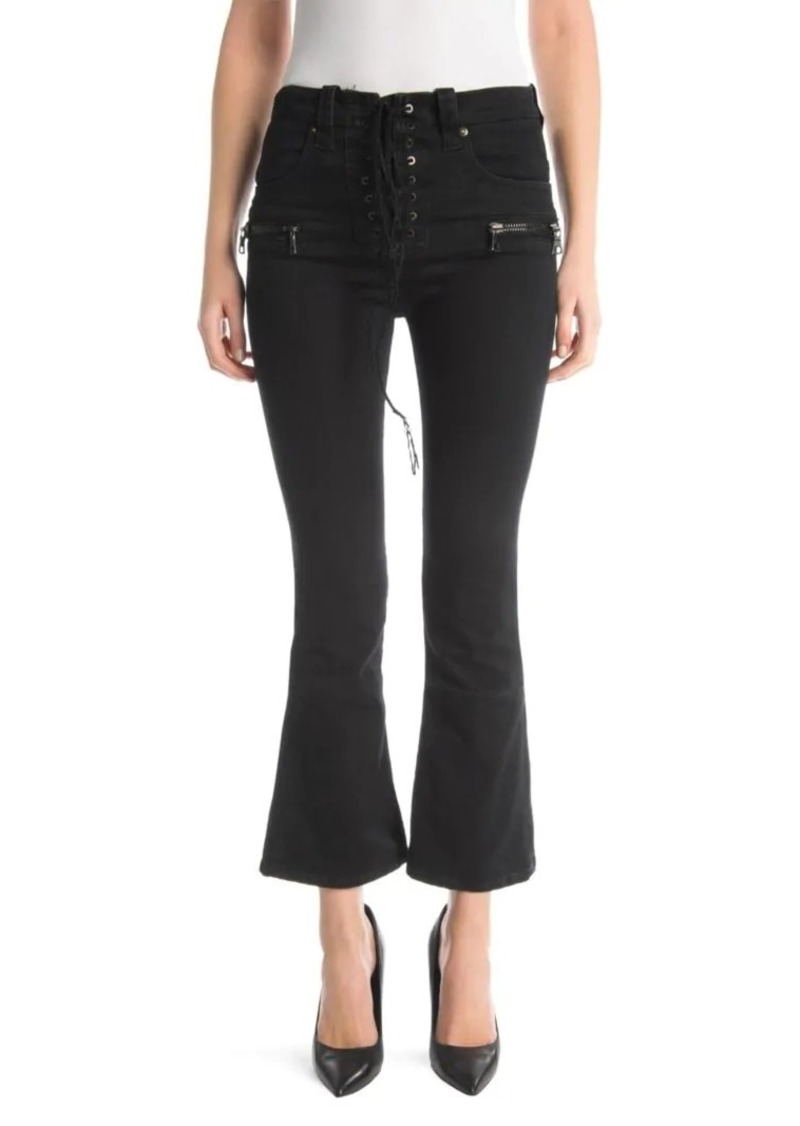 Ben Taverniti Unravel Project Lace-Up Kick Flare Jeans