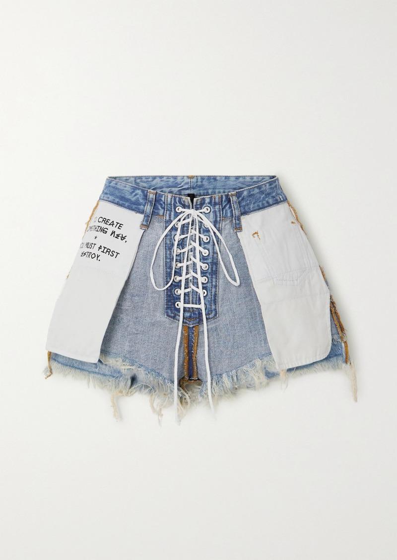Ben Taverniti Unravel Project Lace-up Printed Frayed Denim Shorts