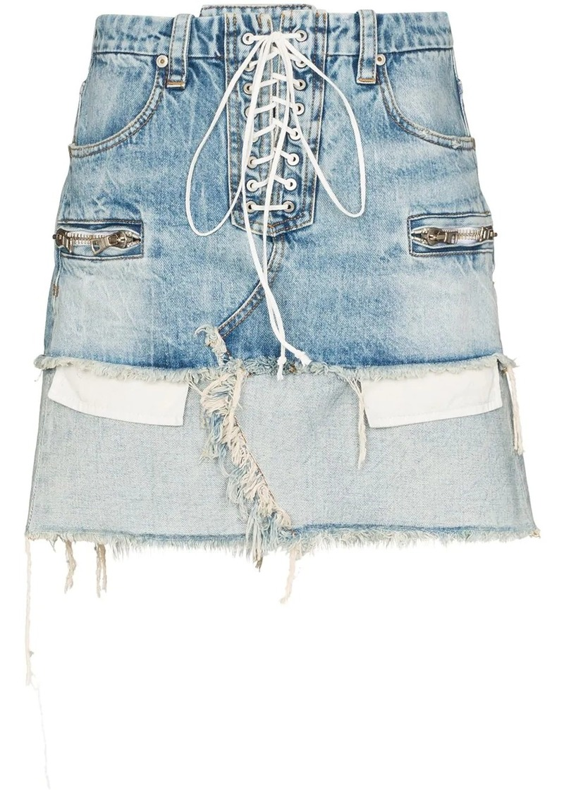 Ben Taverniti Unravel Project lace-up reverse hem denim skirt