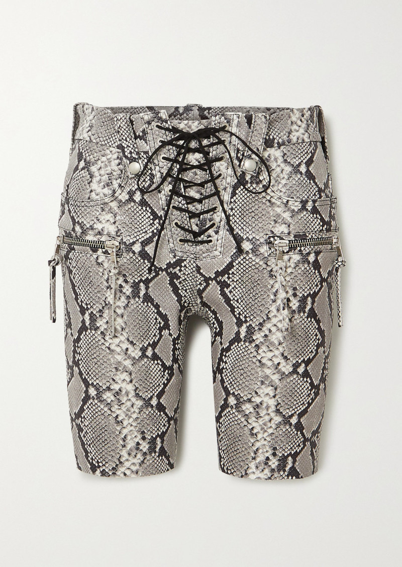 Ben Taverniti Unravel Project Lace-up Snake-effect Leather Shorts