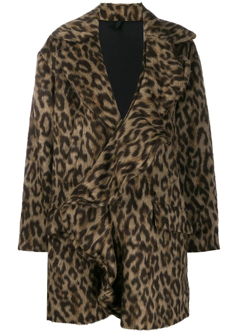 Ben Taverniti Unravel Project leopard print ruffled coat