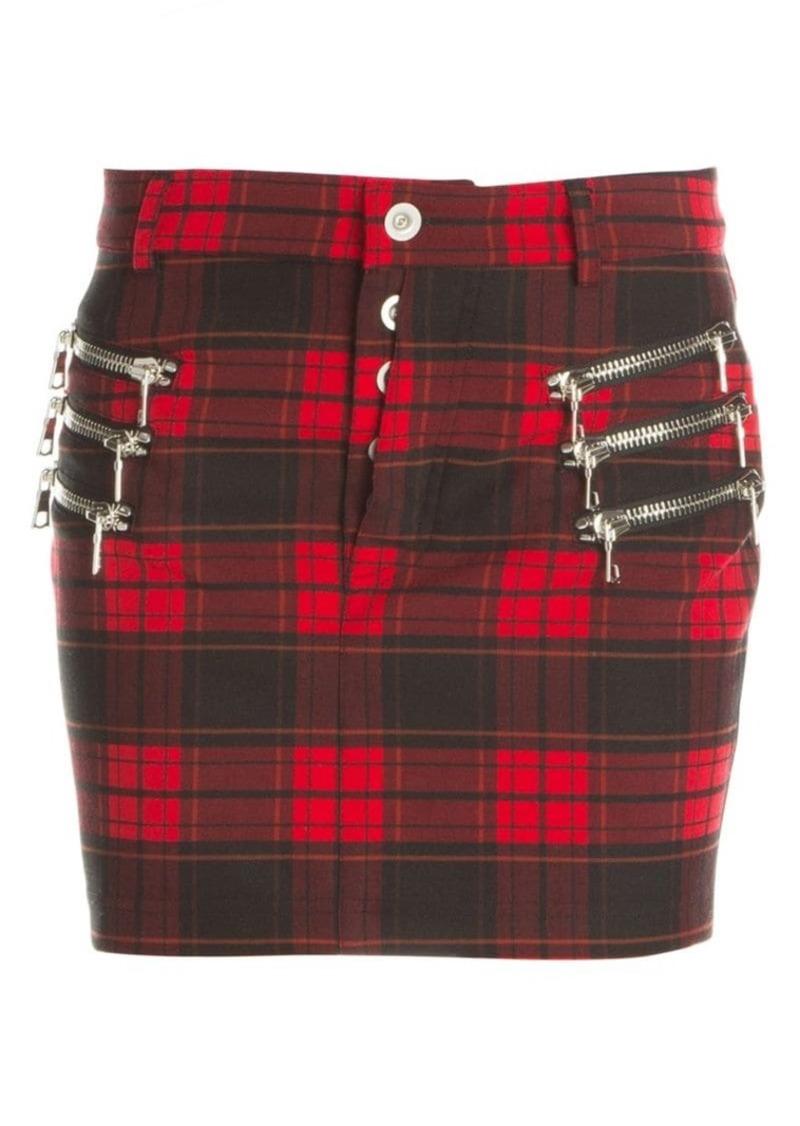 Ben Taverniti Unravel Project Plaid Zip Mini Skirt
