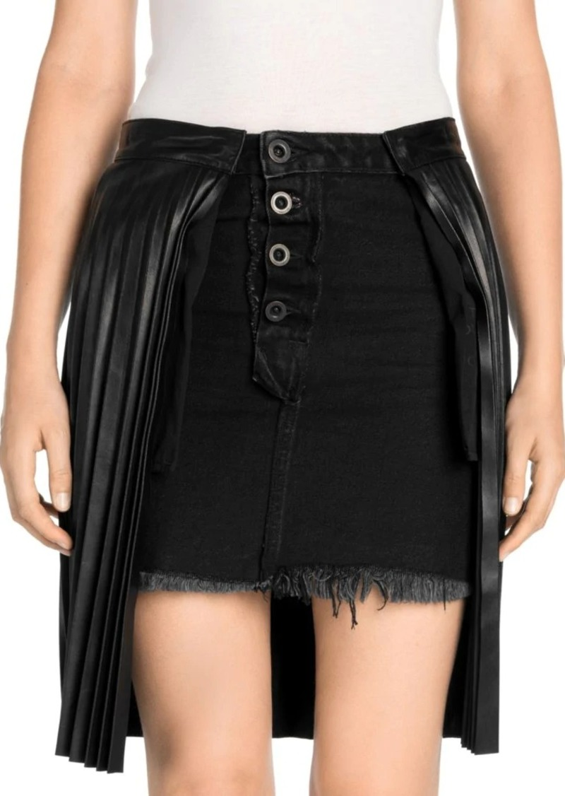 Ben Taverniti Unravel Project Pleated Leather Denim Wrap Skirt