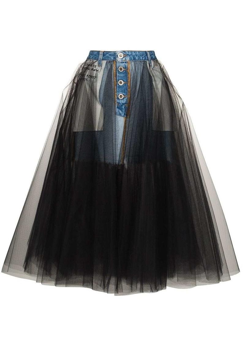 Ben Taverniti Unravel Project reverse-style denim tulle skirt