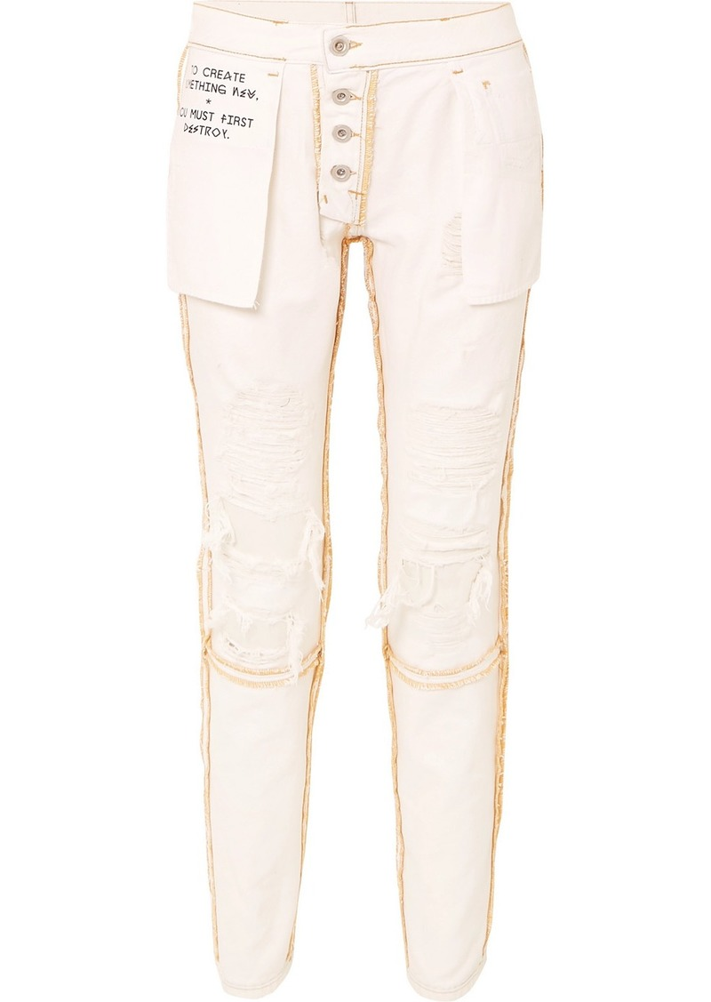Ben Taverniti Unravel Project Reversible Distressed Mid-rise Skinny Jeans