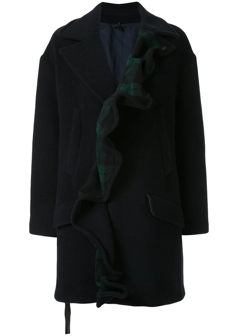 Ben Taverniti Unravel Project ruffled single-breasted coat