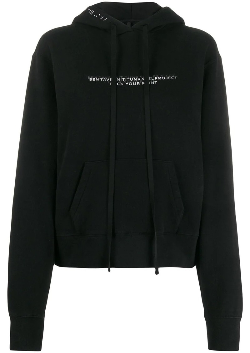 Ben Taverniti Unravel Project slogan print hoodie