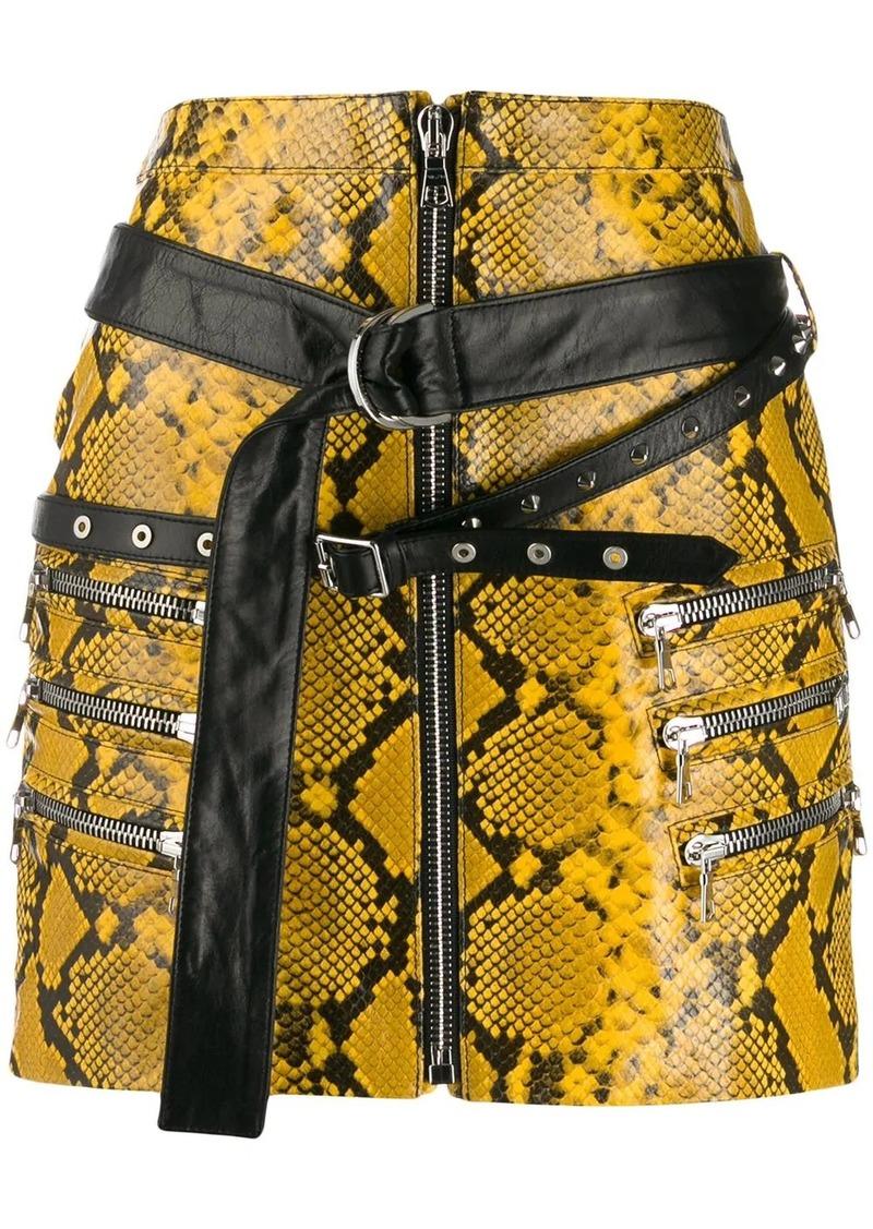 Ben Taverniti Unravel Project snake-effect mini skirt