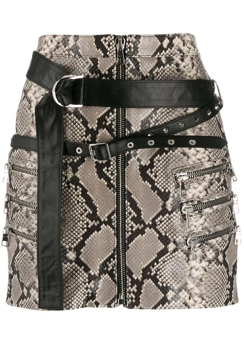 Ben Taverniti Unravel Project snakeskin print mini skirt