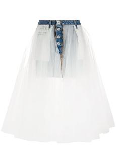 Ben Taverniti Unravel Project stonewash denim tulle skirt