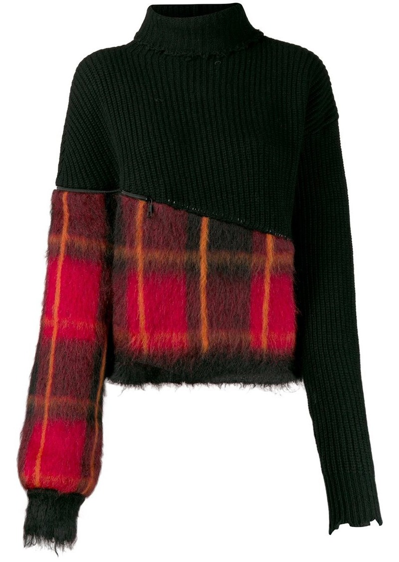 Ben Taverniti Unravel Project tartan panel jumper