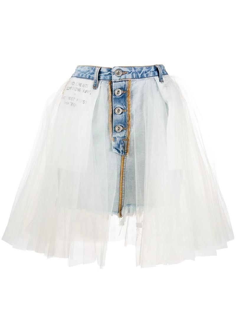 Ben Taverniti Unravel Project tulle denim mini skirt