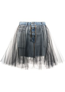 Ben Taverniti Unravel Project tulle denim skirt
