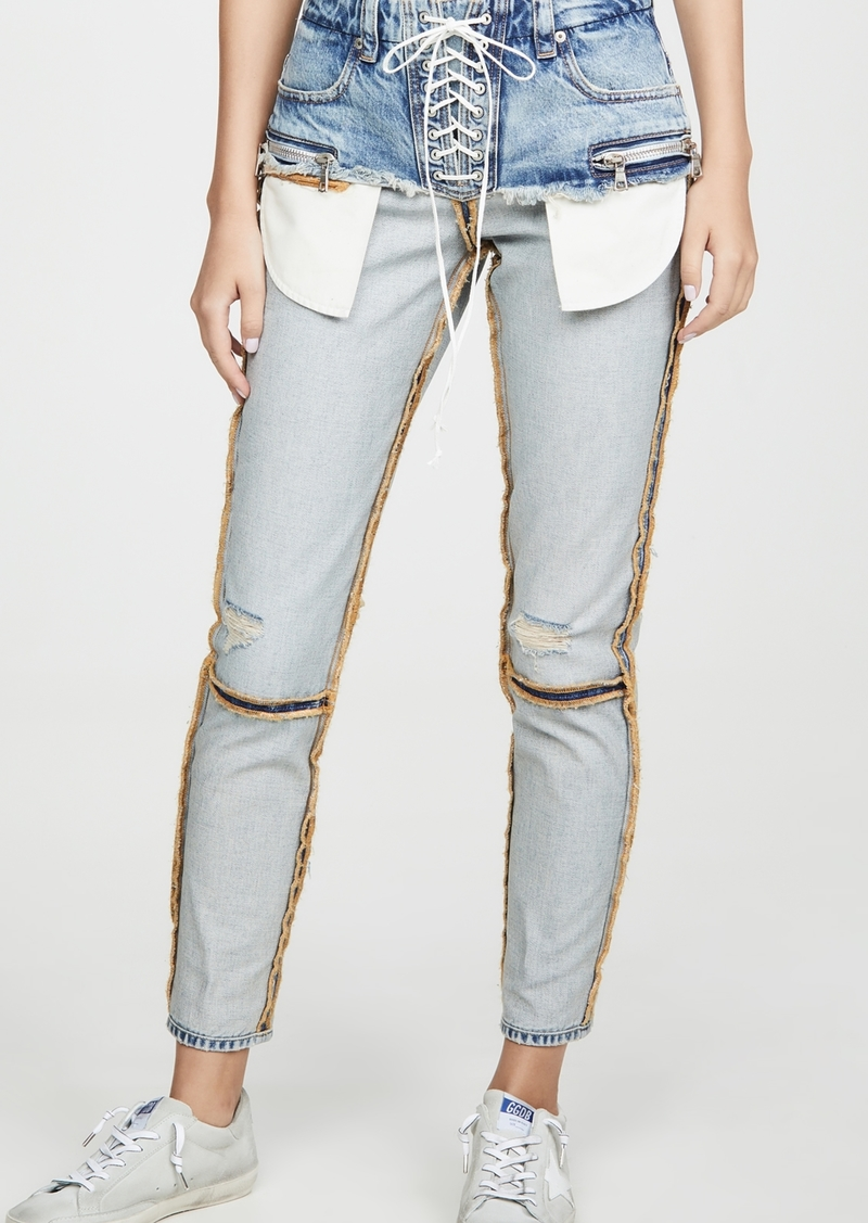 Ben Taverniti Unravel Project Unravel Project Corset Inside Out Skinny Jeans