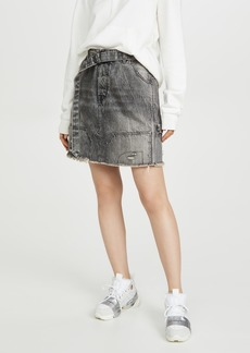 Ben Taverniti Unravel Project Unravel Project Moonwash Repaired Denim Skirt