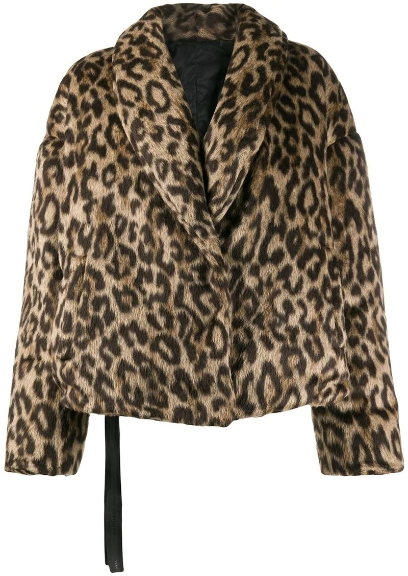 Ben Taverniti Unravel Project leopard-print down jacket