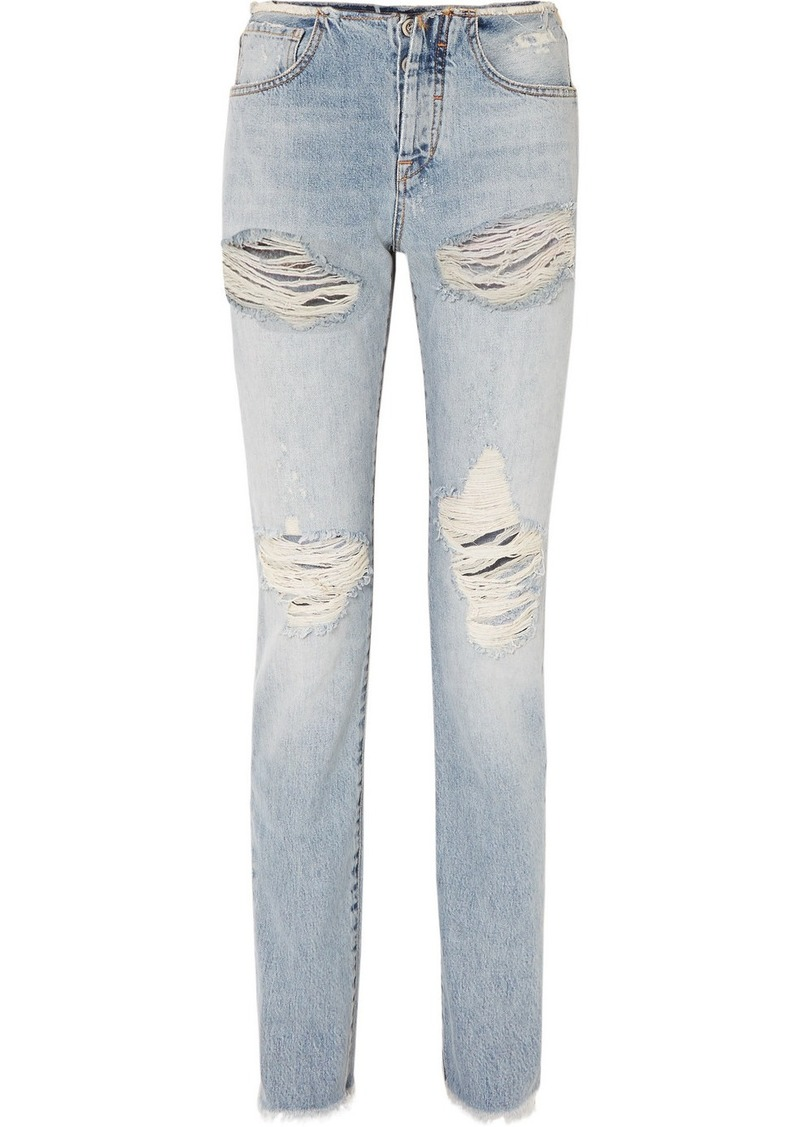 Ben Taverniti Unravel Project Vinta Spray Distressed Low-rise Skinny Jeans
