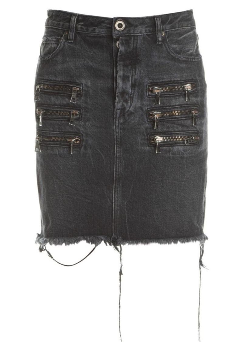 Ben Taverniti Unravel Project Zip Distressed Denim Skirt