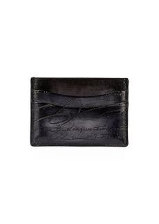 Berluti Bambou Scritto Leather Card Case  Nero