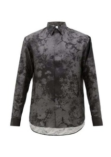 Berluti Marble and dye-print silk-faille shirt