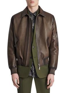 Berluti Men's Calfskin Leather Bomber Jacket