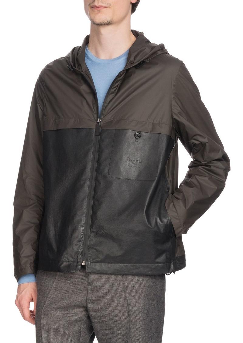 Berluti Men's Nylon & Leather Zip-Front Bomber Jacket