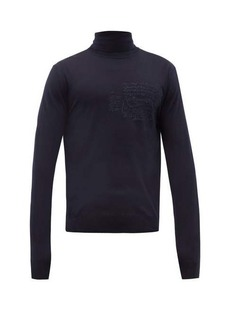 Berluti Scritto-embroidered roll-neck wool sweater
