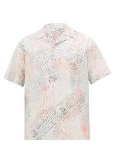 Berluti Scritto-print Cuban-collar silk-twill shirt