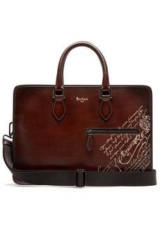 Berluti Un Jour scritto-detail Venezia leather briefcase