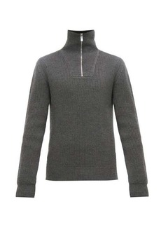 Berluti Zipped stand-collar ribbed wool-blend sweater