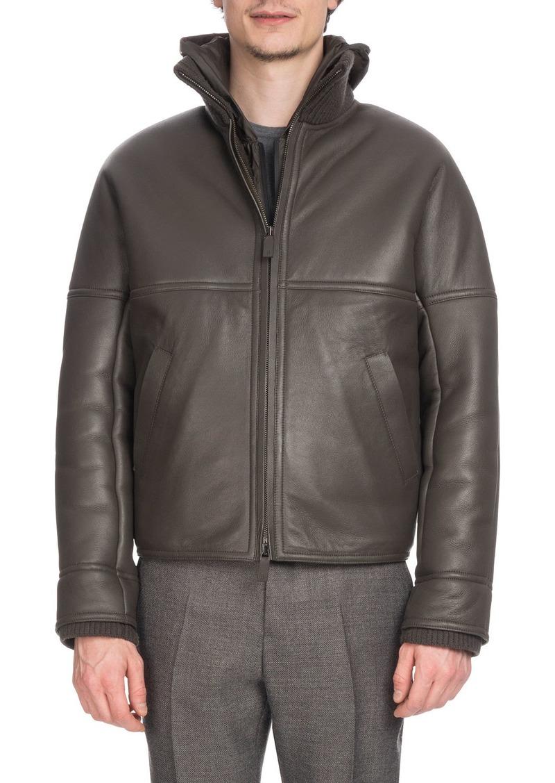 Berluti Men's Leather Bomber Jacket with Lamb Fur Lining
