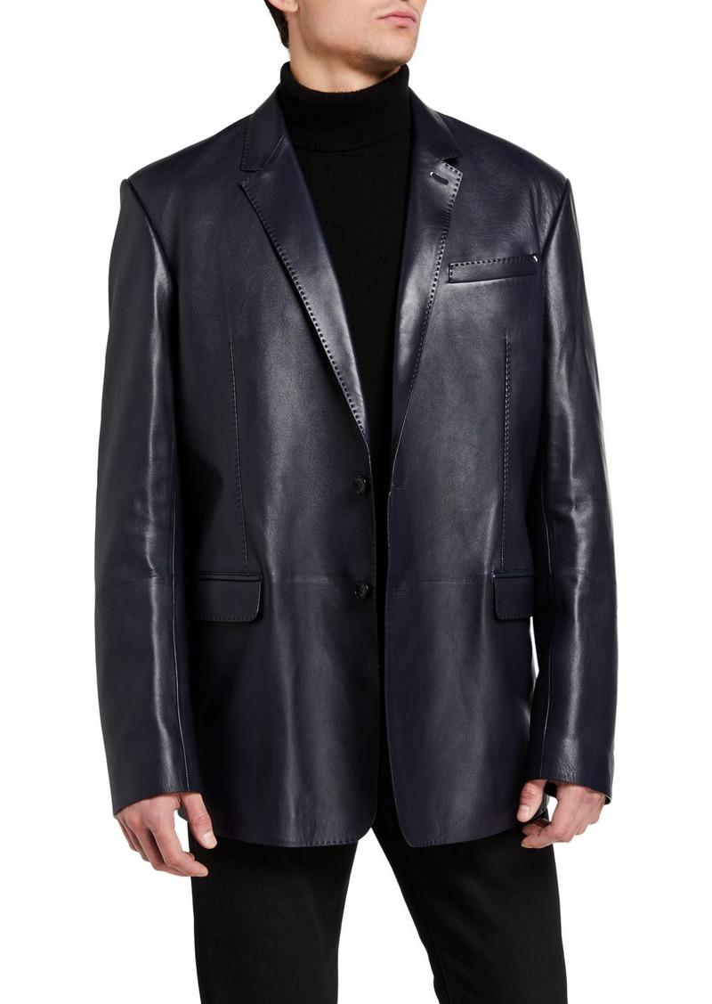 Berluti Men's Leather Two-Button Blazer