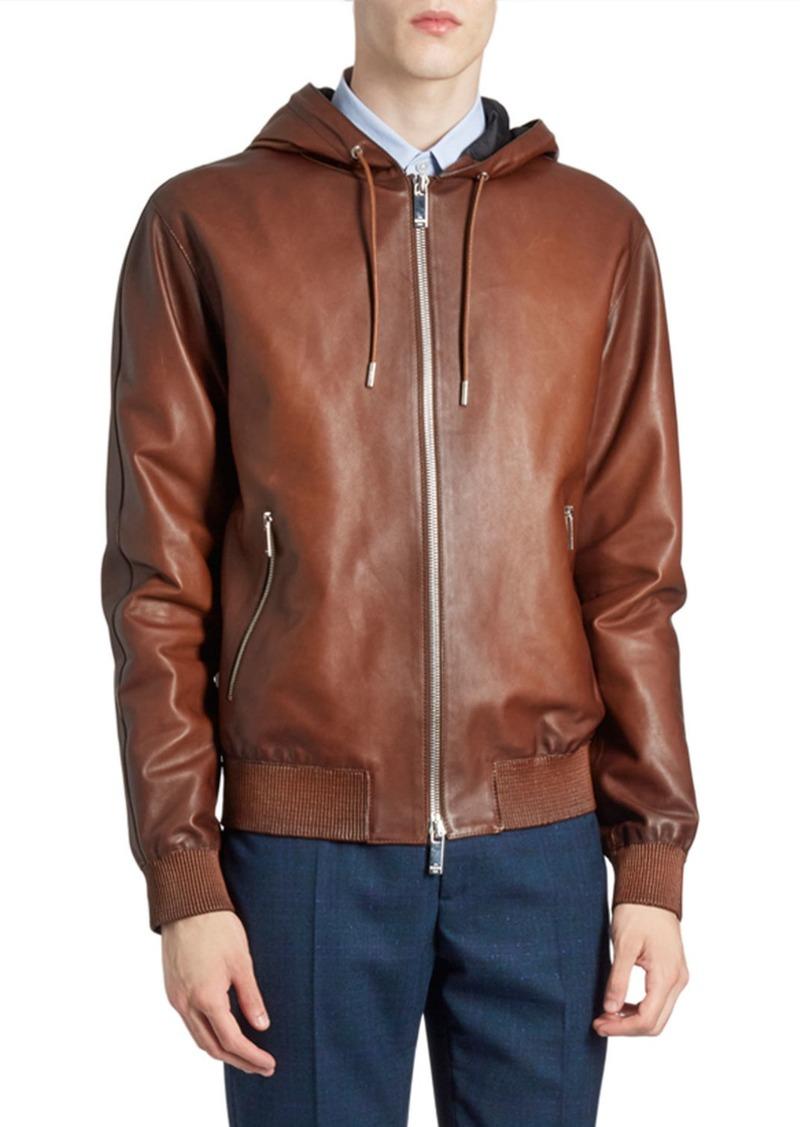 Berluti Men's Leather Zip-Front Hoodie