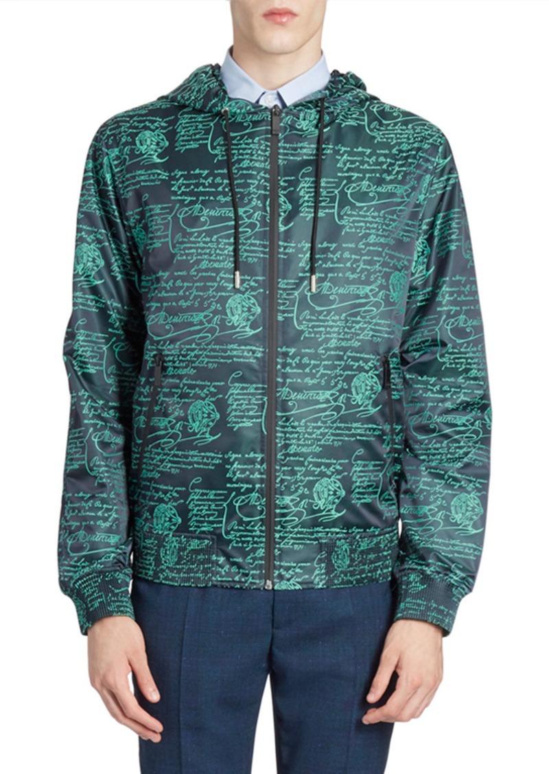 Berluti Men's Scritto Graphic Wind-Resistant Jacket