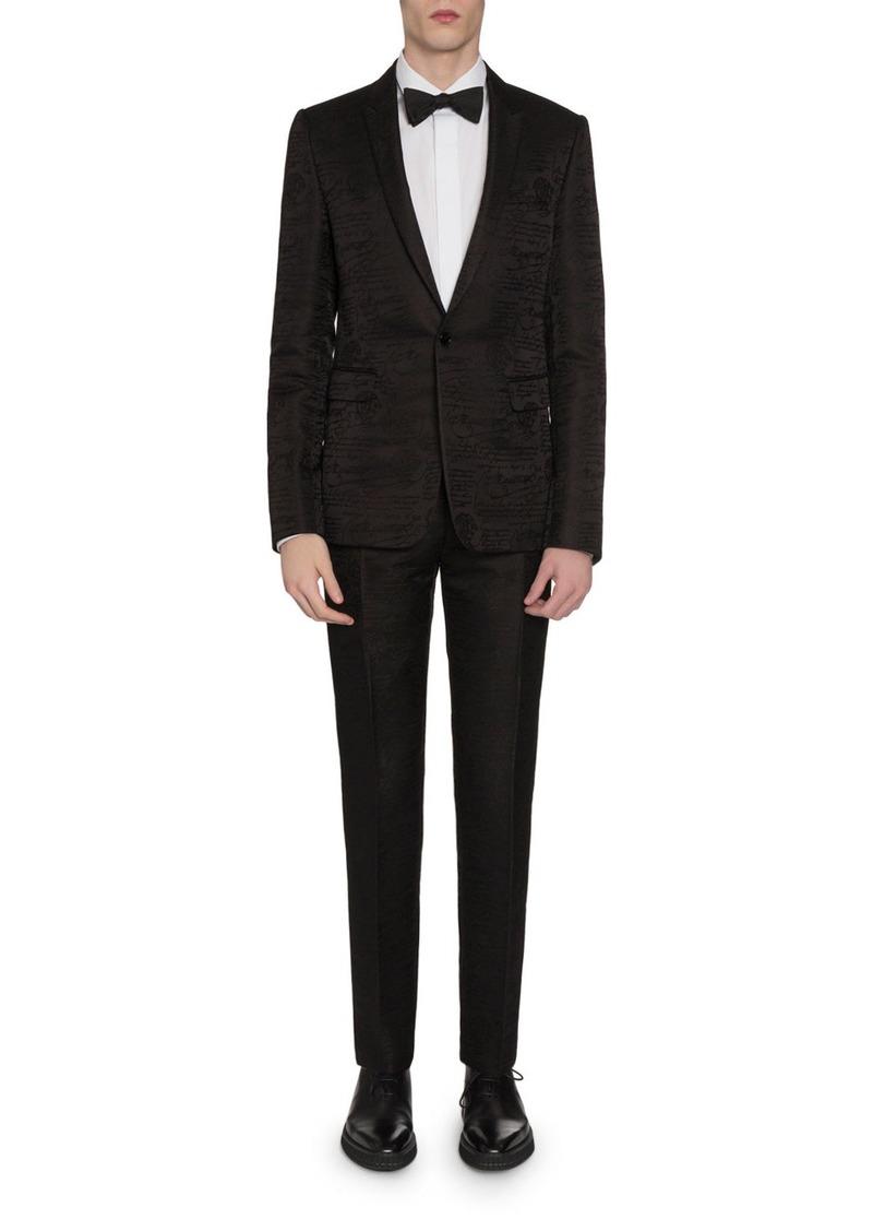 Berluti Men's Tonal Scritto Jacquard One-Button Jacket