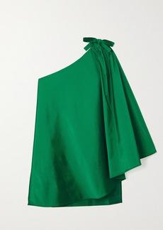 BERNADETTE Benedicte One-shoulder Cape-effect Taffeta Mini Dress
