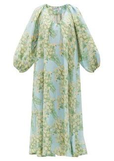 Bernadette Georgette Bouquet-print linen midi dress