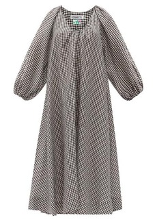 Bernadette Georgette gingham linen midi dress