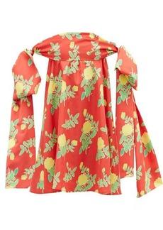 Bernadette Holly off-the-shoulder floral-print mini dress