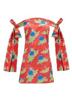 Bernadette Timothy off-the-shoulder floral taffeta mini dress