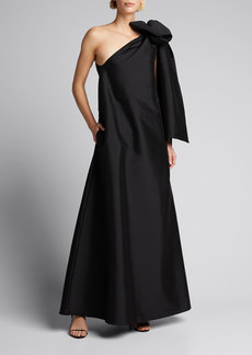 BERNADETTE Winnie Oversized One-Shoulder Bow Gown