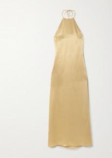 BERNADETTE Jack Silk-satin Halterneck Midi Dress