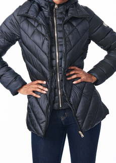 Bernardo Asymmetrical Channel Quilted Jacket with Hooded Bib Inset